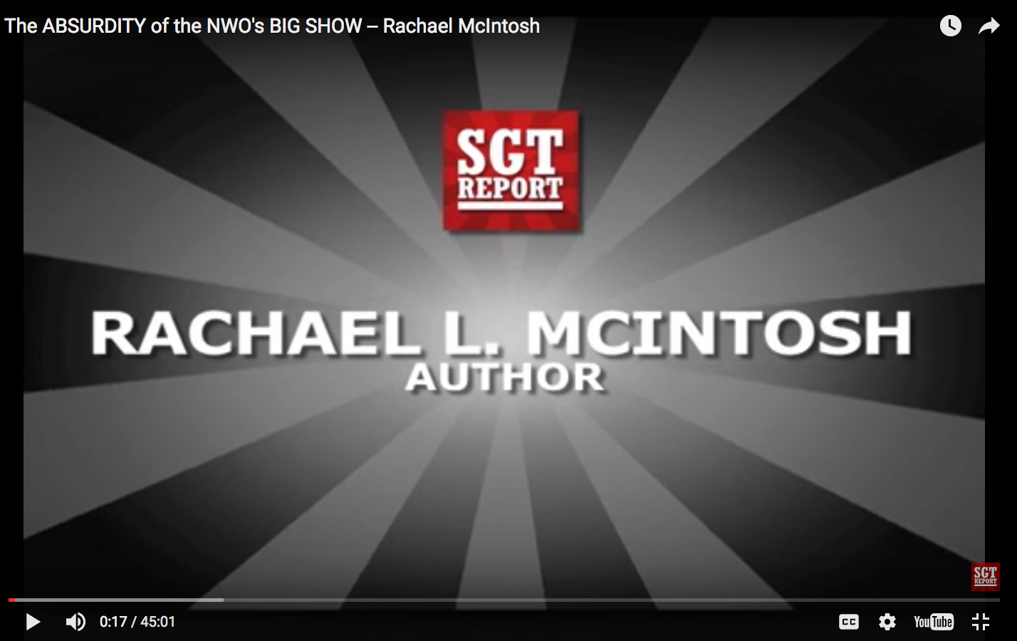Rachael L. McIntosh appears on SGTreport